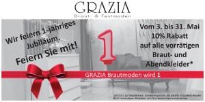 Grazia Brautmoden Castrop-Rauxel  1-jähriges Jubiläum mit 10% Rabatt
